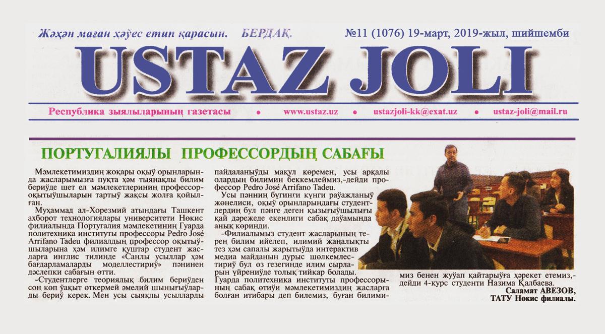«USTAZ JOLI» Республика зыялыларының газетасы №11 (1076) 19-март, 2019-жыл
